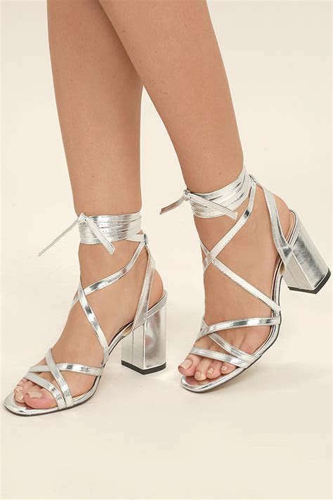 silver lace high heels oni silver lace up heels 3 25 wrapped block heel cushioned