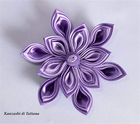 fiore colore viola fiore kanzashi per capelli colore viola e lilla donna