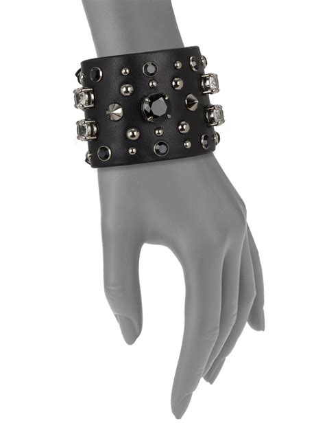 Miu Mius Patent Buckle Embellished Cuff Bracelet by Miu Miu Embellished Wide Leather Cuff Bracelet In Black Lyst