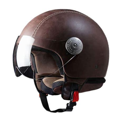 Helm Retro Helm Classic Helm Superbasic Matte Brown vintage brown leather helmet with visor 24