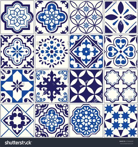 tiles pattern vector vector tile pattern lisbon floral mosaic stock vector