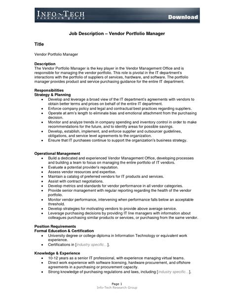 10 best images of job description format template sle