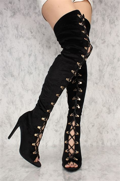 black lace up front thigh high heels boots faux velvet