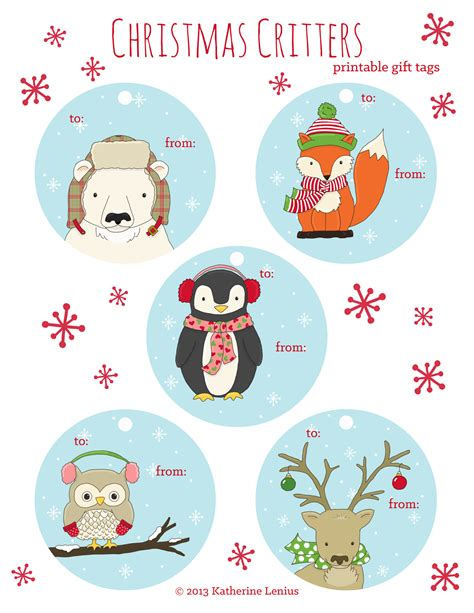 printable gift tags with string katie s sketchbook christmas critters printable gift tags