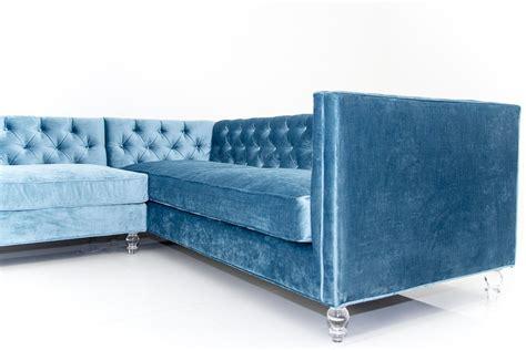 Blue Velvet Sectional Sofa Sectional Sofa In Cornflower Blue Velvet Modshop
