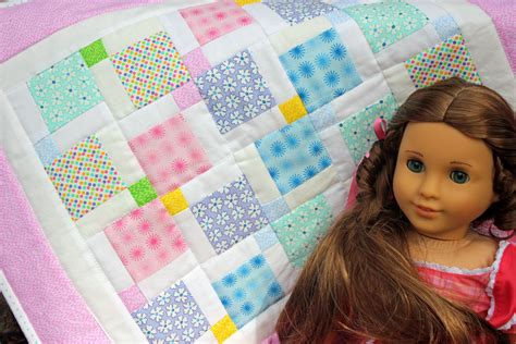 Patchwork Dolls - handmade pastel patchwork doll quilt pillow for 18