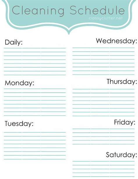 17 Best Images About Cleaning Schedule On Pinterest How To Make An Cleaning Schedules And Editable Cleaning Schedule Template