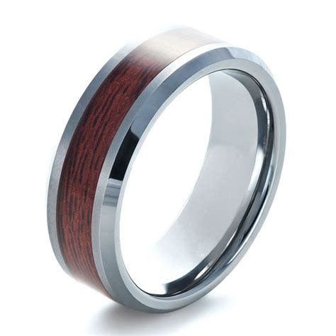 mens wedding rings with wood inlay s tungsten and wood inlay ring 1339