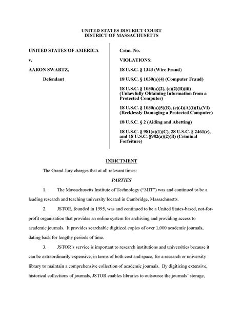 U S District Court Of Massachusetts Aaron Swartz Jstor Downloading Indictment July 2011 Criminal Indictment Template
