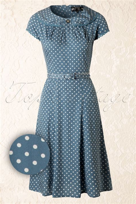Nl Dress Polka 40s ingrid dress in vintage blue with white polka