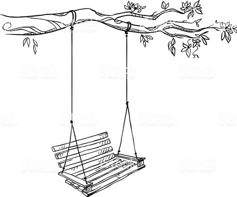 Swing Illustration Tree With A Swing Vector Illustration Stock Vector