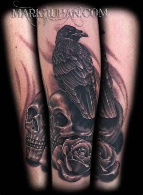 raven skull and rose by amduhan on deviantart