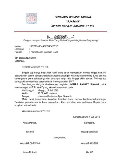 surat permohonan hut ri 67