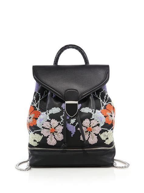 Mcqueens Floral Leather Novak by Mcqueen Legend Small Floral Embroidered Leather
