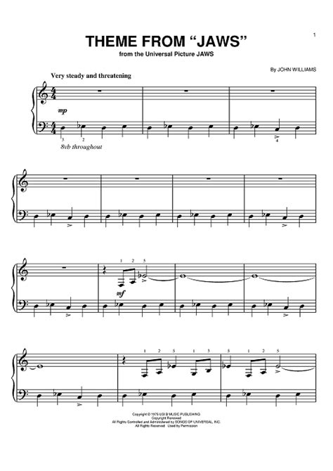 theme music to jaws theme from quot jaws quot sheet music music for piano and more