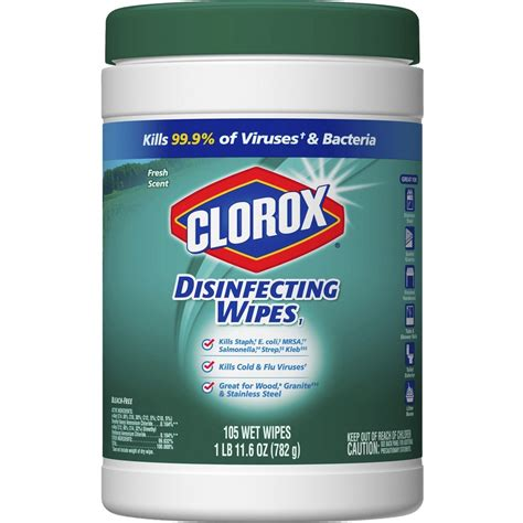 clorox bleach  scented disinfecting wipes ready   wipe fresh scent  canister