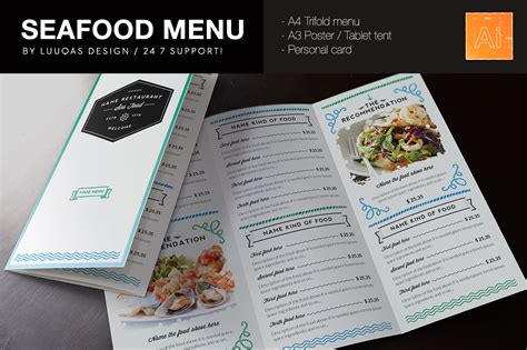 Menu Brochure Template Free by Seafood Menu Template Brochure Templates On Creative Market