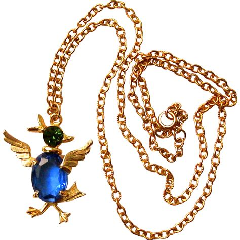 vintage duck bird rhinestone pendant necklace from