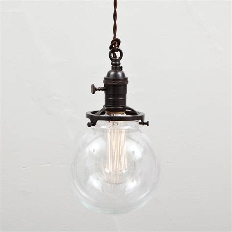 Clear Glass Globe Pendant Light Pendant Light Glass Globe Shade Switch Socket By Fleamarketrx