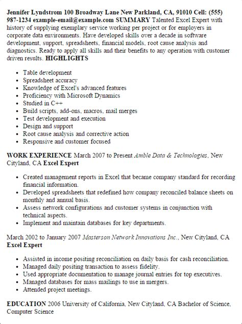 How To Write A Resume For A Exle by Professional Excel Expert Templates To Showcase Your