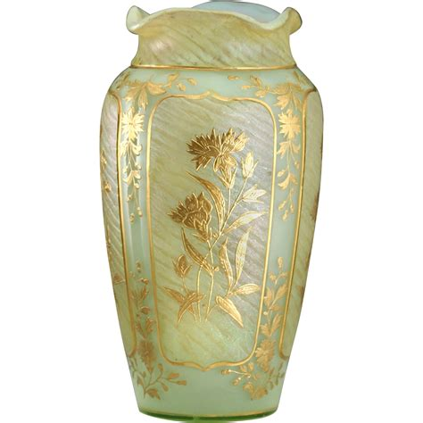 Uranium Vase by C 1900 Uranium Iridescent Glass Vase With Raised Gilt
