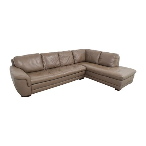 tufted leather sectional 74 off raymour and flanigan raymour flanigan tan