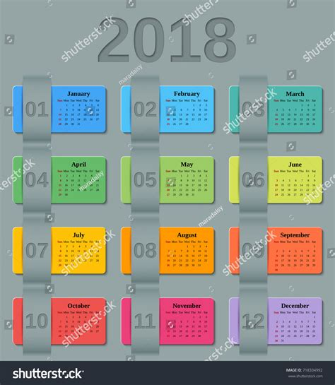 calendar 2018 year vector design stationery stock vector calendar 2018 year week starts sunday stock vector
