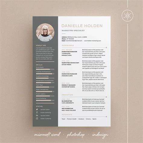 danielle resume cv template word photoshop indesign