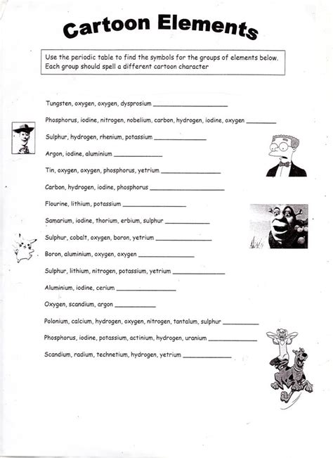 periodic patterns worksheet answers cartoon elements worksheet chemistry pinterest