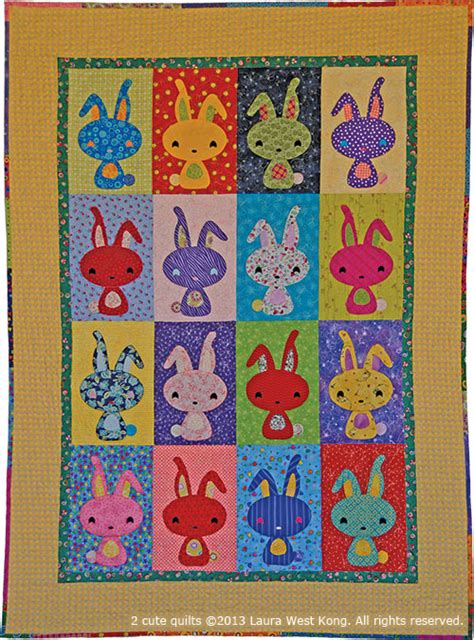 cute quilt pattern so cute b is for bunny 1 by laura west kong for