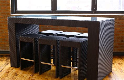 how high is a bar top margarita high top table dining and bar set in brown wicker