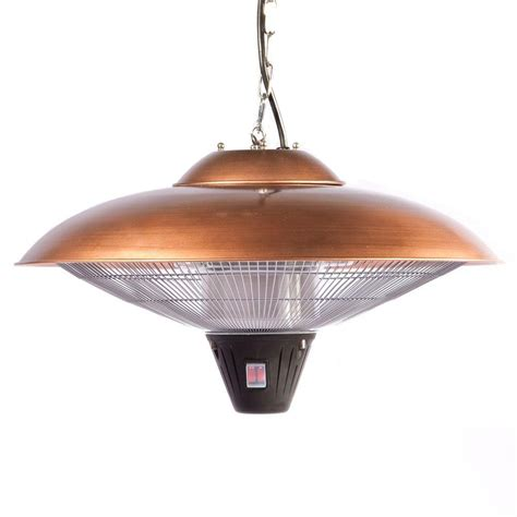 Hanging Electric Patio Heater Sense 1 500 Watt Copper Hanging Halogen Electric Patio Heater 60660 The Home Depot