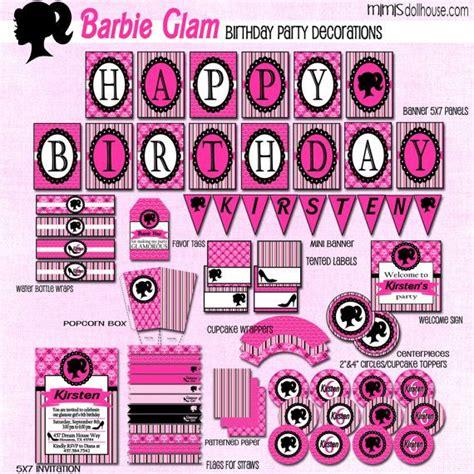 free printable barbie birthday decorations barbie party decorations printablebarbie by mimisdollhouse