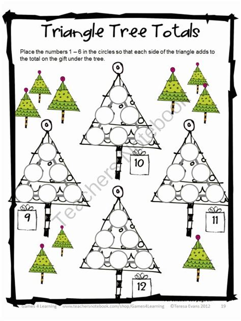 christmas math puzzle triangle tree totals just use