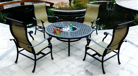 summit outdoor furniture patio furniture cast aluminum sling chat table 5pc summit