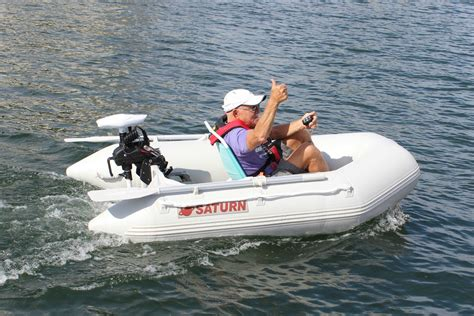 saturn inflatable boat with motor deluxe remote controled 55 lbs electric trolling motor