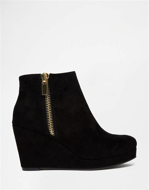 river island river island black zip wedge boots at asos