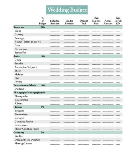 download printable wedding planner 22 wedding budget templates free sle exle