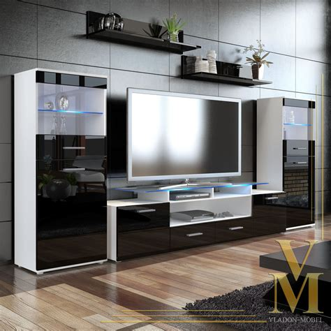 Wall Unit Living Room Furniture Wall Unit Living Room Furniture Almada V2 In White Black Highgloss Ebay