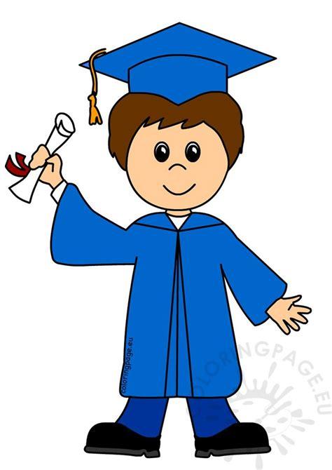 happy boy graduate cartoon vector illustration coloring page