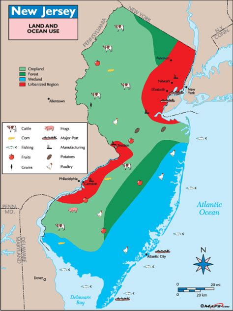 new jersey physical map new jersey land use map by maps from maps world