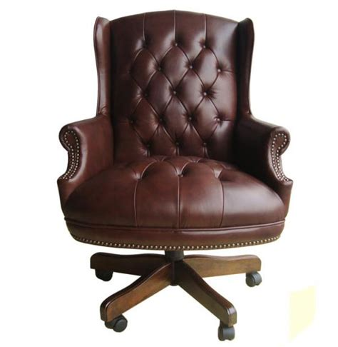 handsome top grain brown button tufted leather executive