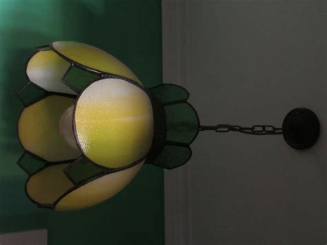 Yellow Glass Ceiling Light Antique Lead Light Pendant Slag Glass Ceiling Light Green Yellow Black 1920s