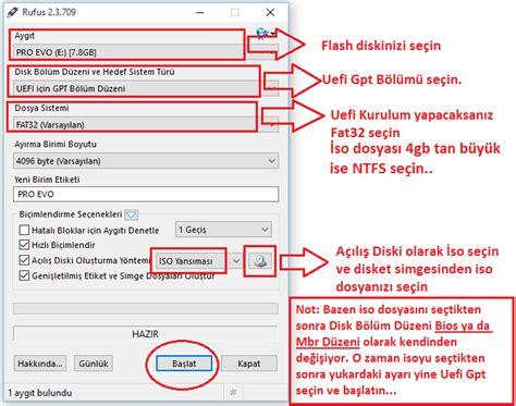 format cd yazma usbden uefi windows 10 format hazırlama bilgisayar