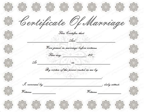 marriage license template snow flower marriage certificate template
