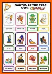 months of the year pictionary with garfield set 2 editable
