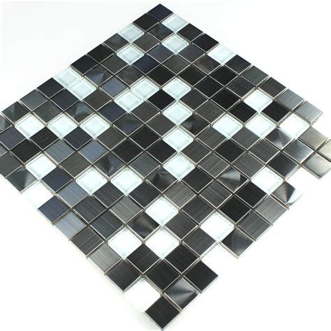 mosaic tiles stainless steel glass white silver lz69198m