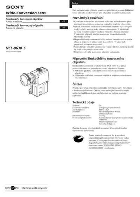 sony vcl 0630s service manual sony vcl 0630s objective download manual for free now