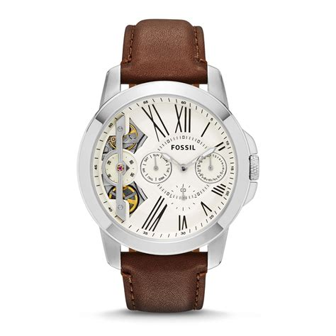 Jam Tangan Wanita Chain Silver Fossil Tah fossil grant brown leather mens in brown for silver lyst