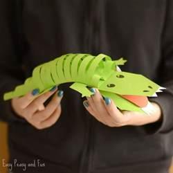 paper crocodile craft easy peasy fun